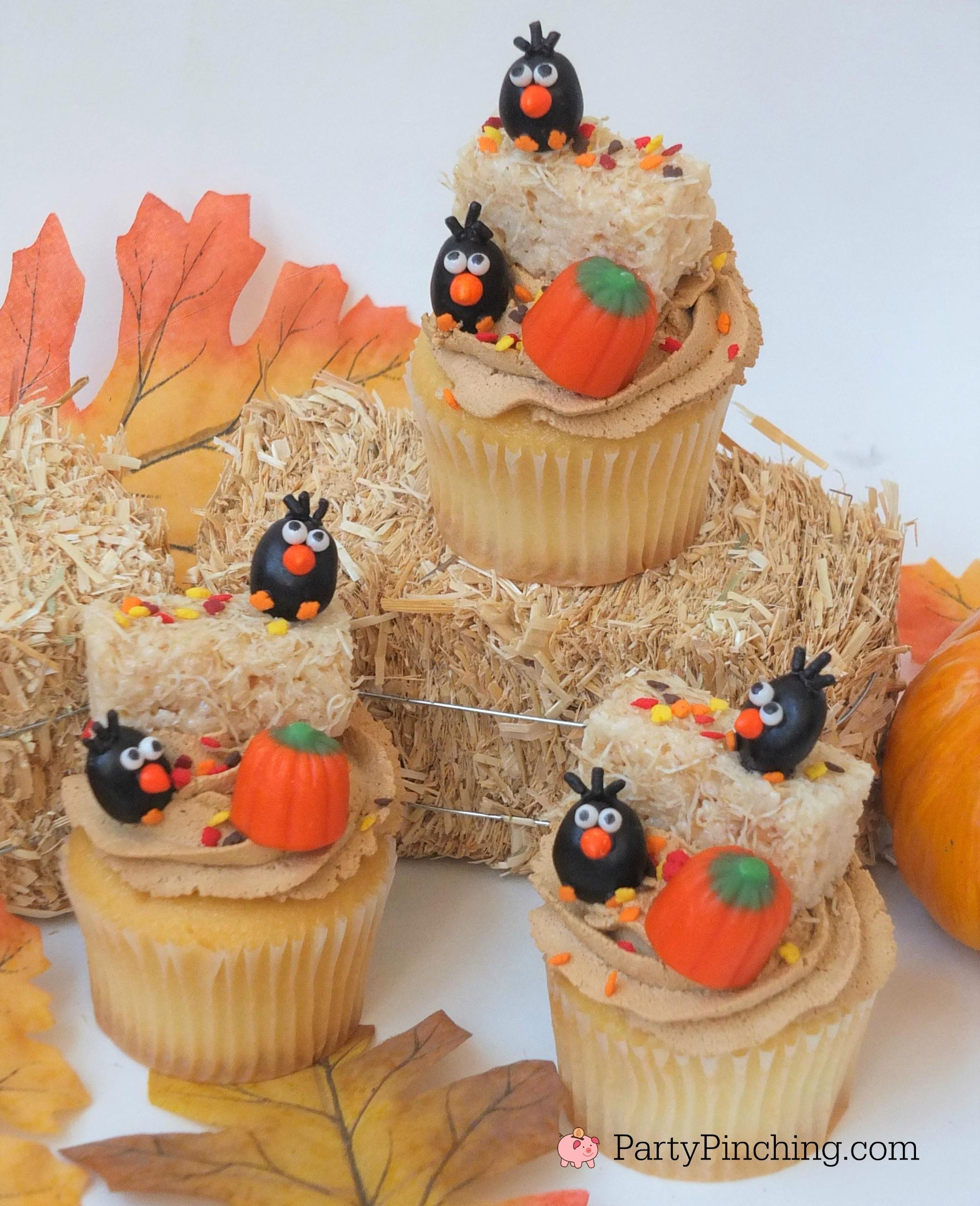 Fall Cupcakes Ideas  Crow Cupcakes for Harvest Halloween Fall Autumn
