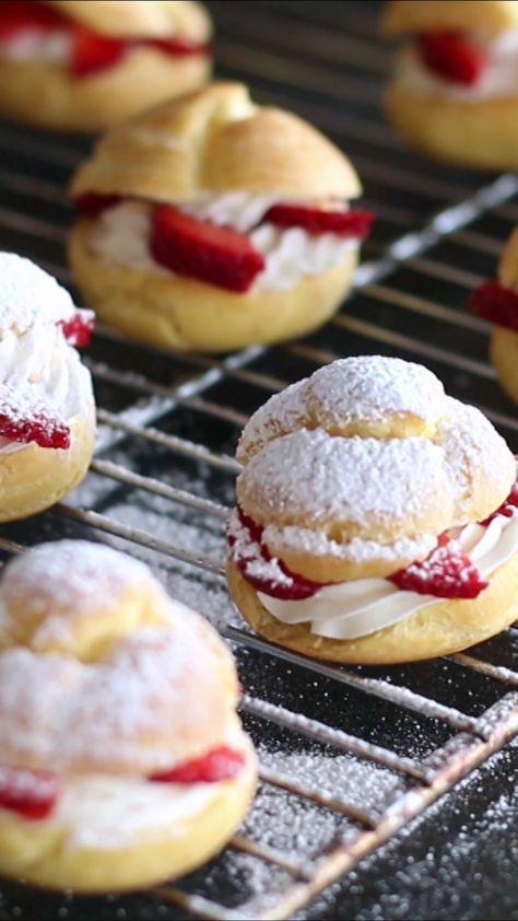 Fall Desserts 2019  Strawberry Cream Puffs Recipe in 2019