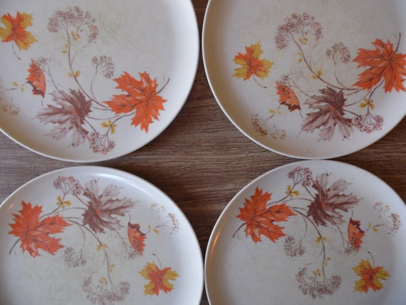 Fall Dinner Plates  Melmac Plates Plate Set Plastic Plates Camping Plates