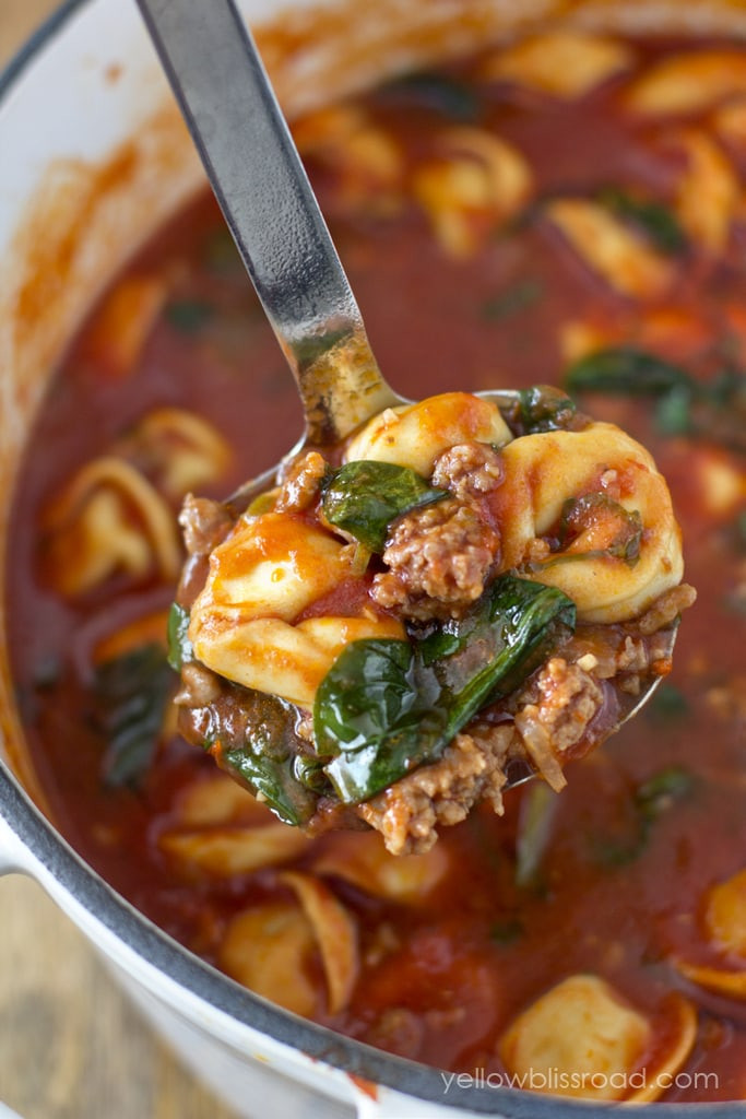 Fall Italian Recipes  Tortellini Soup with Italian Sausage & Spinach Yellow