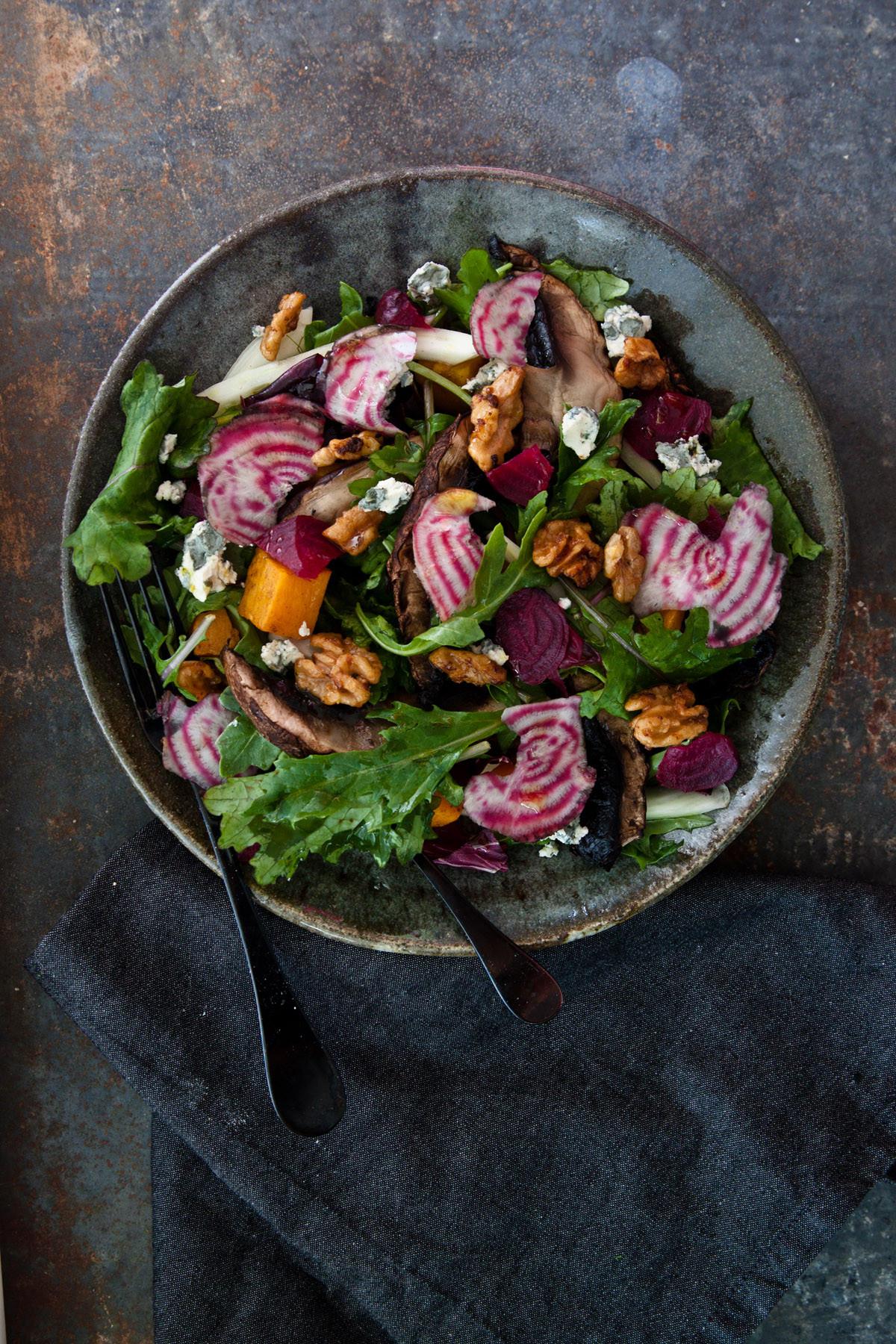 Fall Salad Dressings  Autumn Salad with Shiitake Mushroom Dressing Colavita