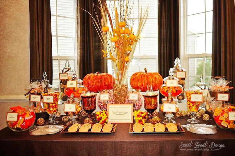 Fall Theme Desserts  fall themed candy buffet our wedding