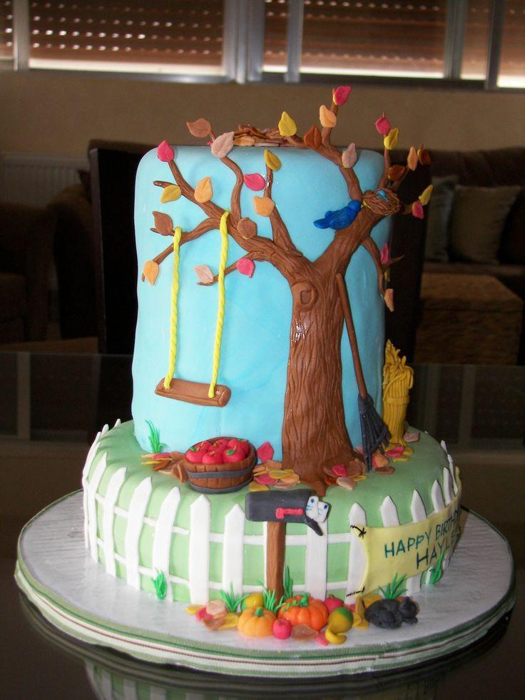 Fall Themed Birthday Cake  Fall themed birthday cake