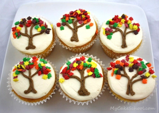 Fall Themed Cupcakes  Autumn Tree Cupcakes