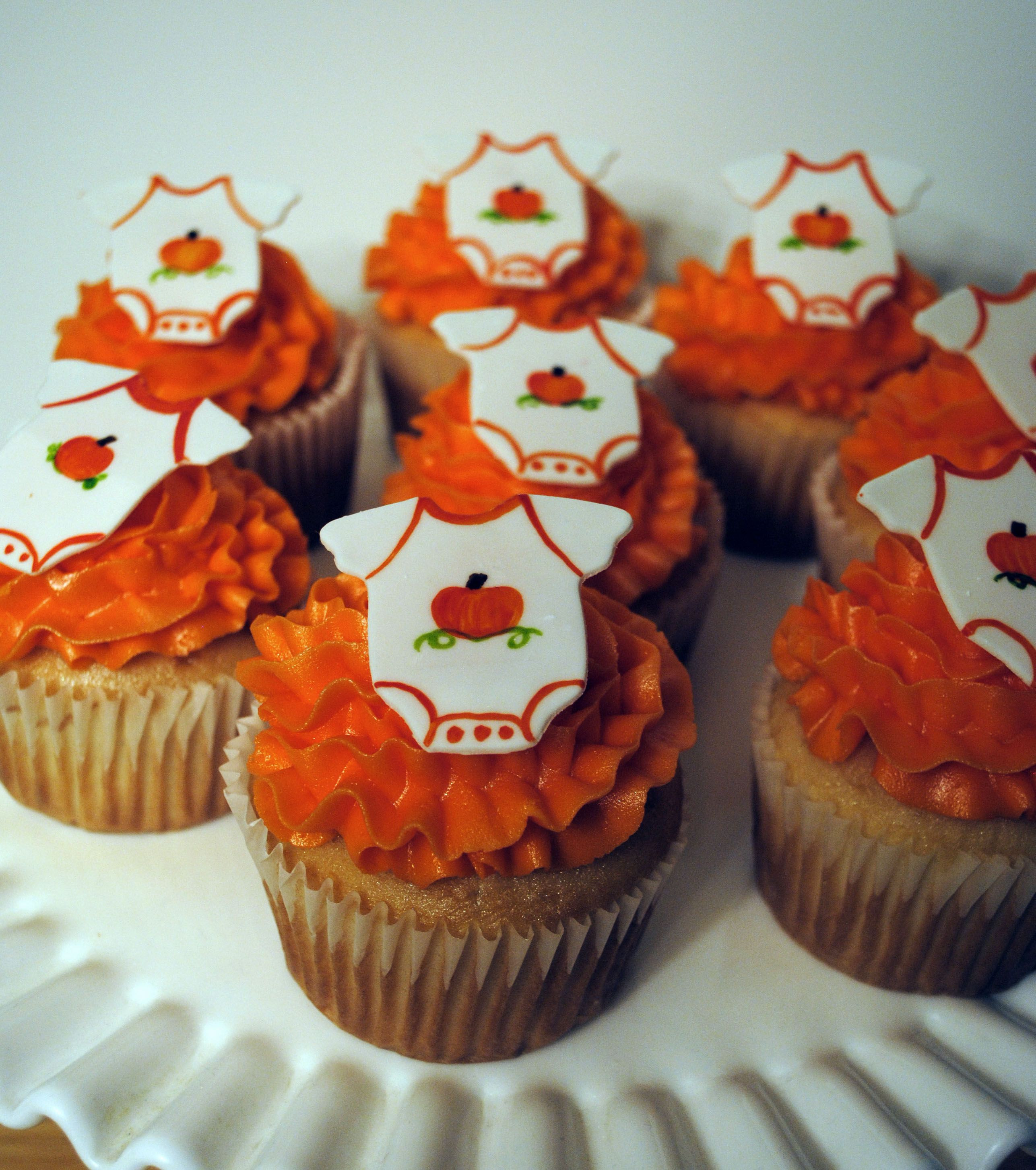 Fall Themed Cupcakes  Fall Baby Shower Cupcakes White frosting piped on with