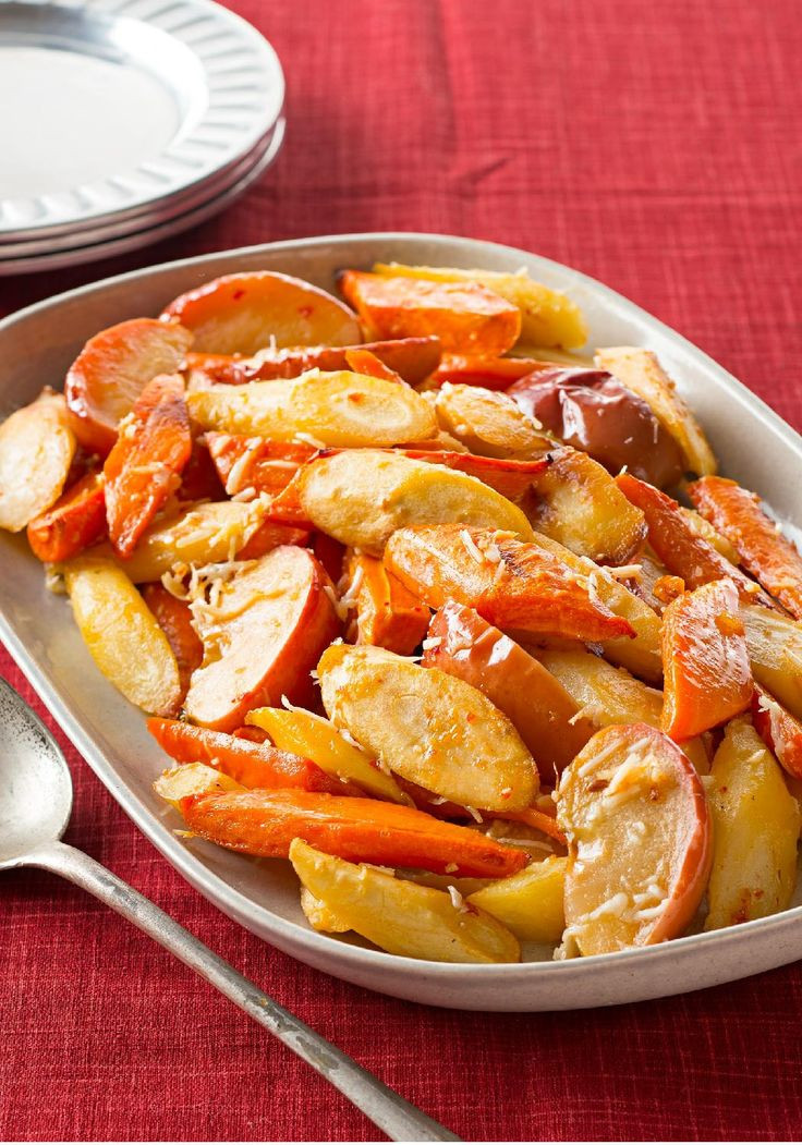 Fall Vegetable Side Dishes  Oven Roasted Root Ve ables & Apples — This savory fall