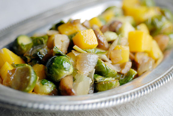 Fall Vegetable Side Dishes  Squash with Brussel Sprouts and Chestnuts