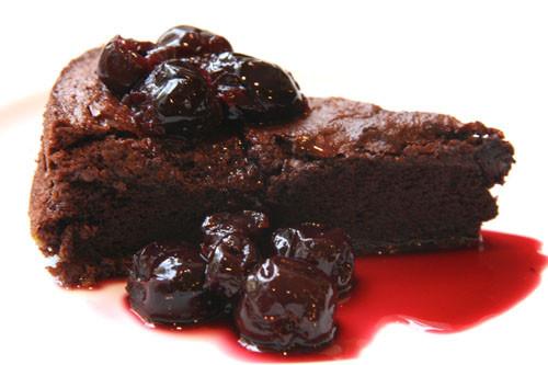 Fallen Chocolate Cake  Balsamic Dark Cherry Sauce Over Fallen Chocolate Cake