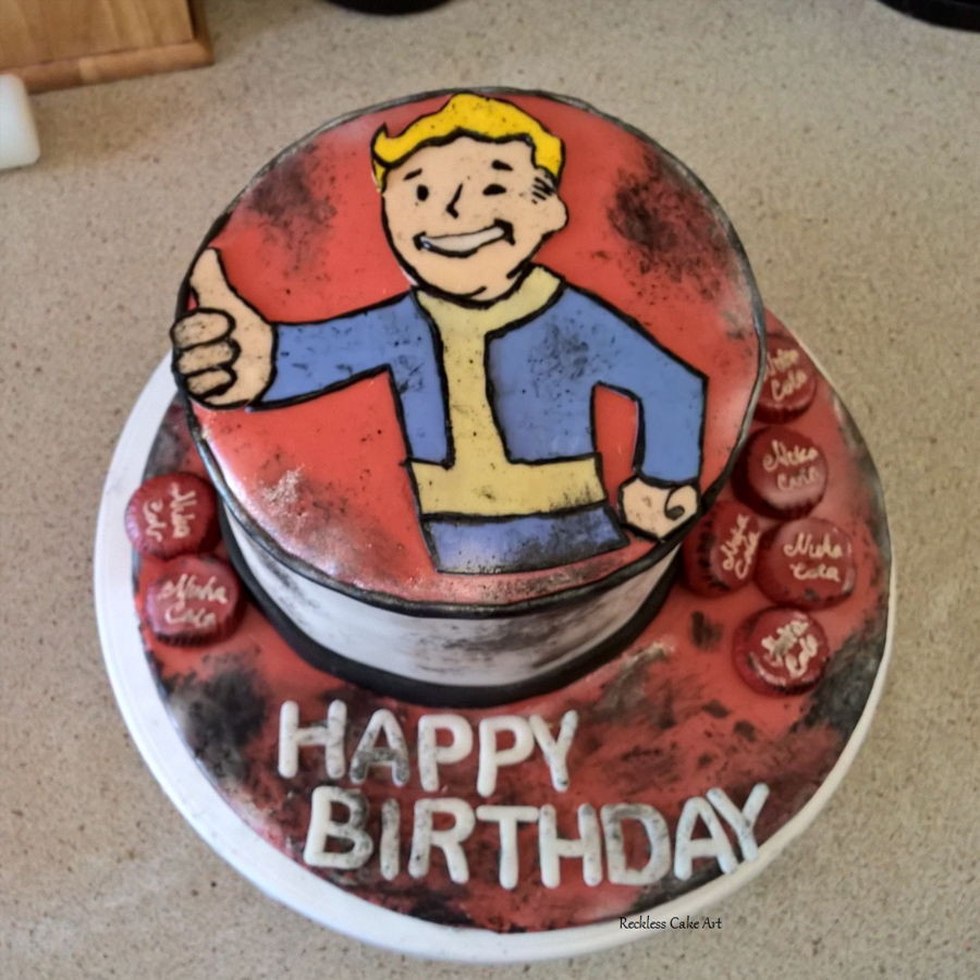 Fallout Birthday Cake  Fallout Vault Boy Cake CakeCentral