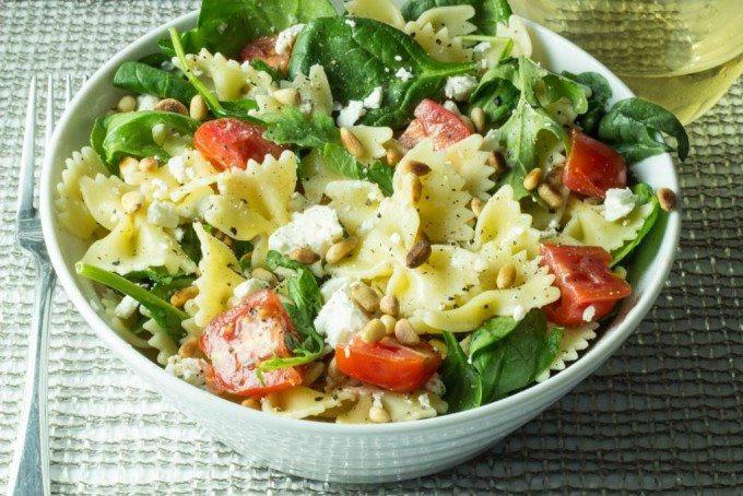 Farfalle Pasta Salad Recipe  Farfalle Pasta with Fresh Spinach Arugula Tomatoes Feta