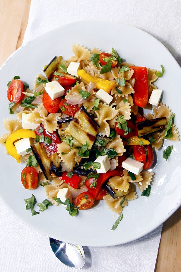 Farfalle Pasta Salad Recipe  Whole Wheat Farfalle Pasta Salad with Peppers Eggplant