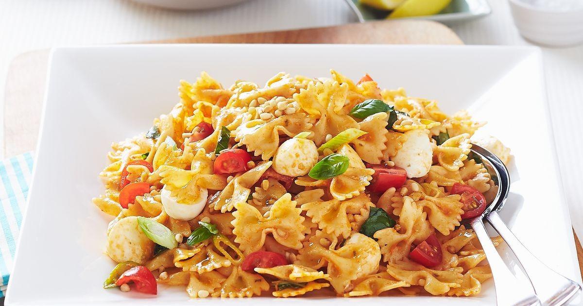 Farfalle Pasta Salad Recipes  Farfalle pasta salad with bocconcini and sundried tomato pesto