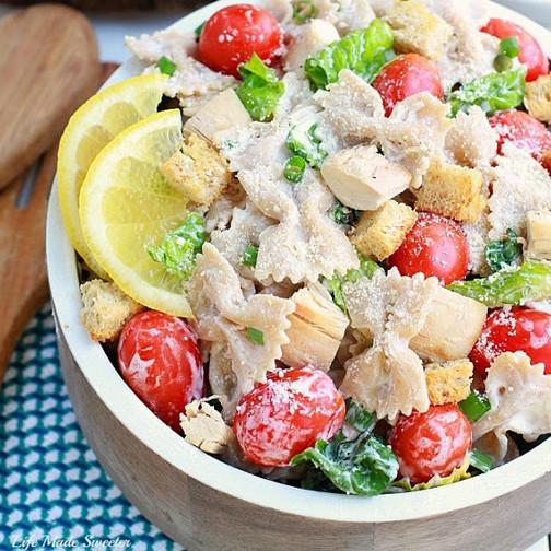 Farfalle Pasta Salad Recipes  Lightened Up Chicken Caesar Farfalle Pasta Salad GF