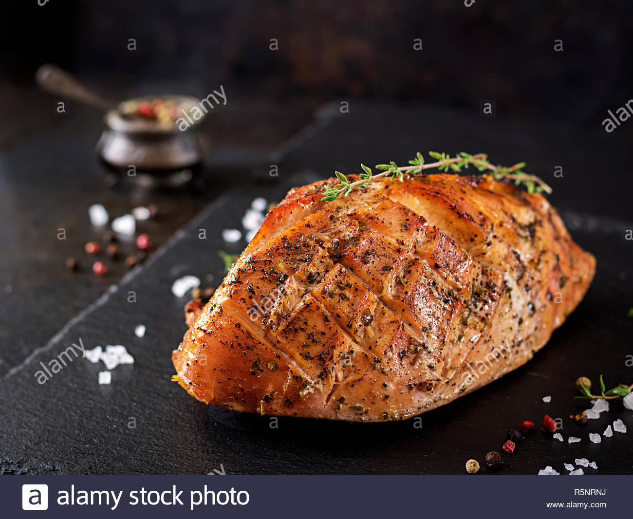 Festival Foods Thanksgiving Dinners  Traditional Christmas Dinner Turkey Ham Stock s
