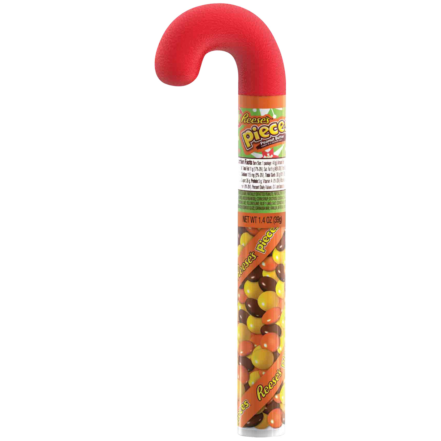 Filled Christmas Candy  Reese s Pieces Holiday Candy Filled Cane 1 7 oz Food