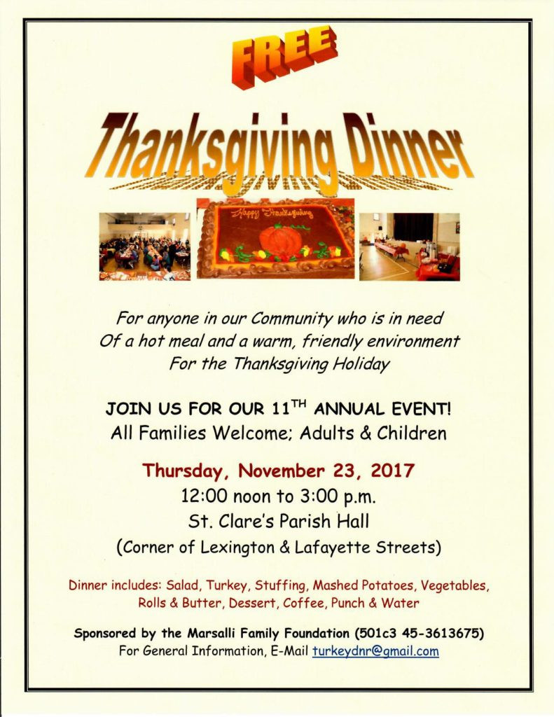Free Thanksgiving Dinner 2019  Thanksgiving Dinner 2017 – St Clare Parish