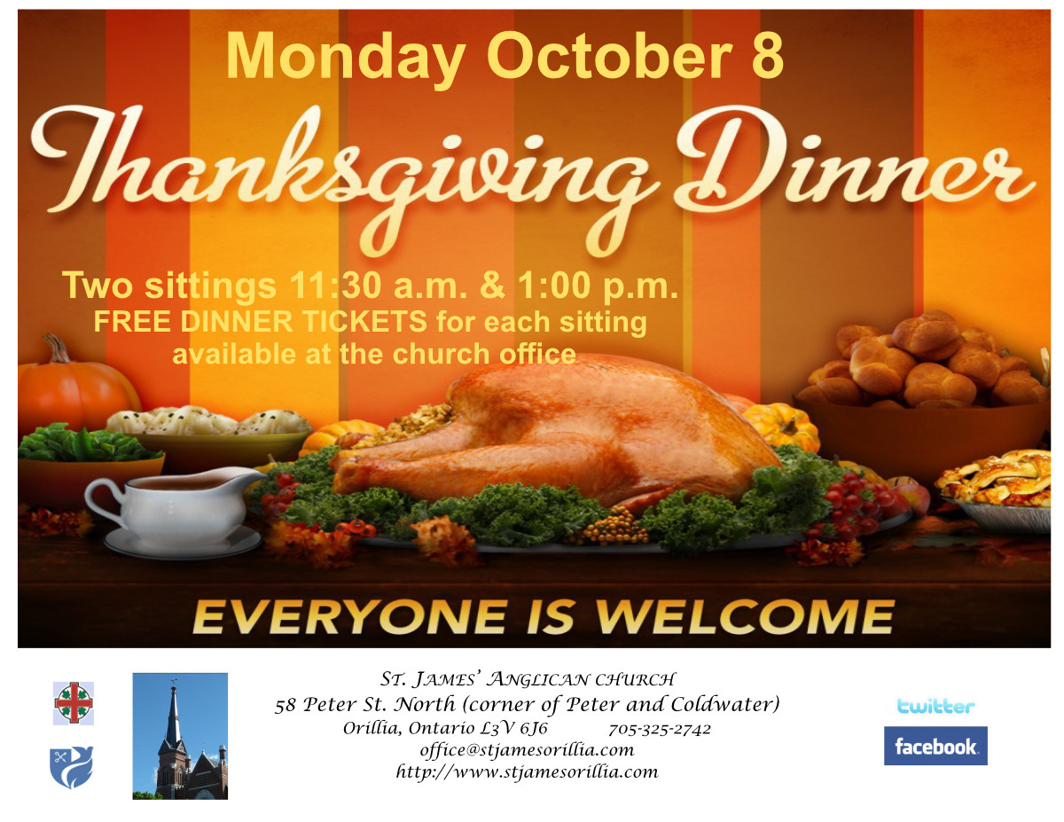 Free Thanksgiving Dinner 2019  Thanksgiving Day Dinner 2018 – St James' Anglican Church