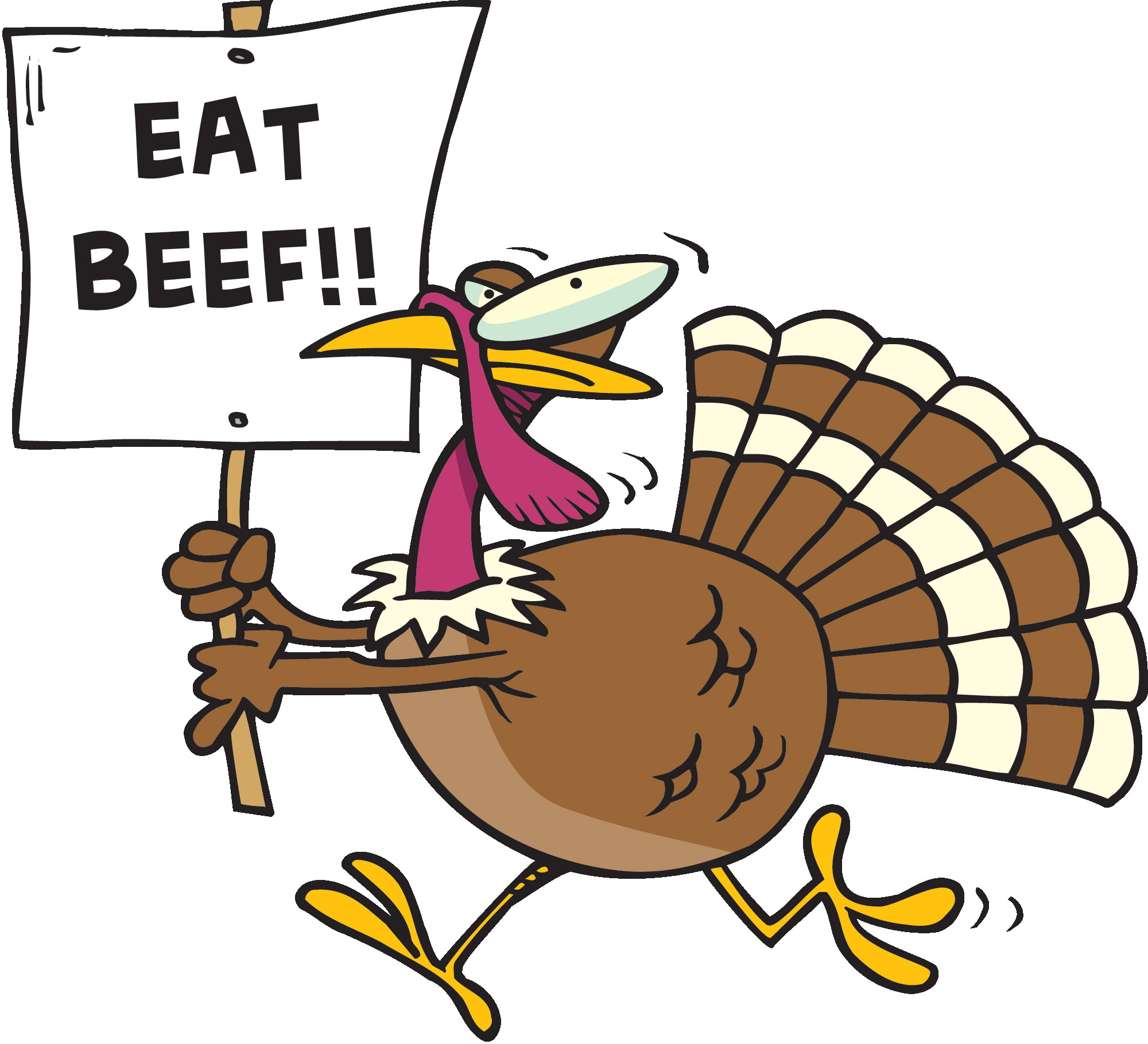 Free Turkey Clipart Thanksgiving  Eat Beef Funny Turkey Clipart Image