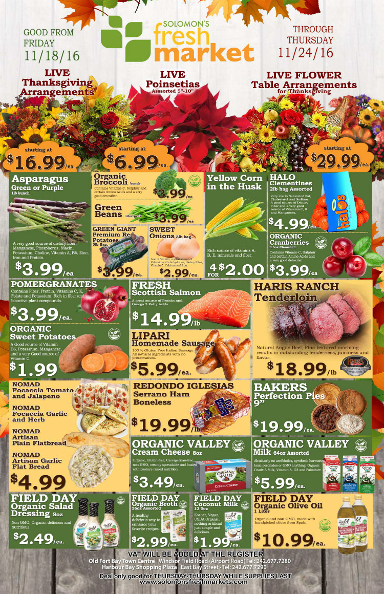 Fresh Market Thanksgiving Dinner 2019  Live Thanksgiving Arrangements Poinsettias and More • My