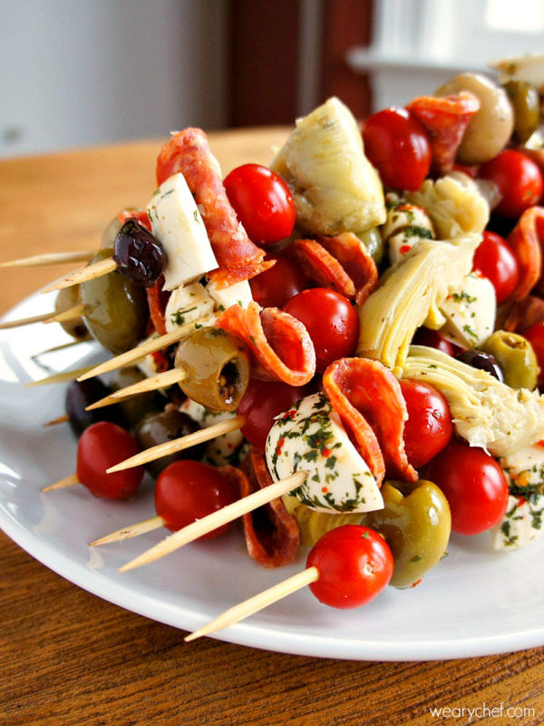 Fun Christmas Appetizers  Antipasto Skewers An Easy Party Food The Weary Chef