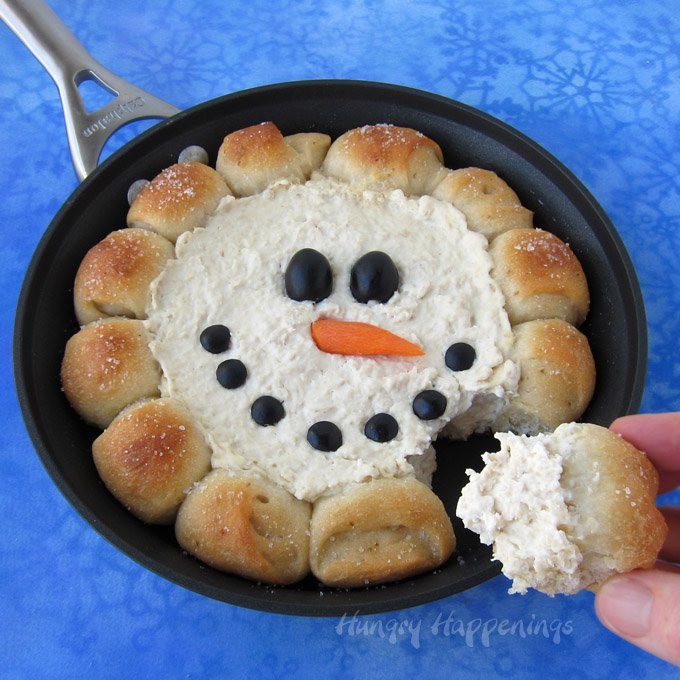 Fun Christmas Appetizers  Skillet Dip Snowman Christmas Appetizer Hot Chicken Dip