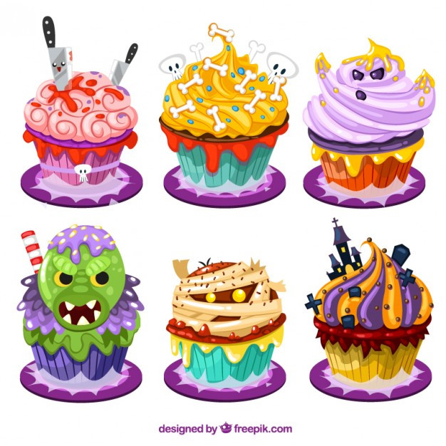 Funny Halloween Cupcakes  Funny halloween cupcakes in cartoon style Vector