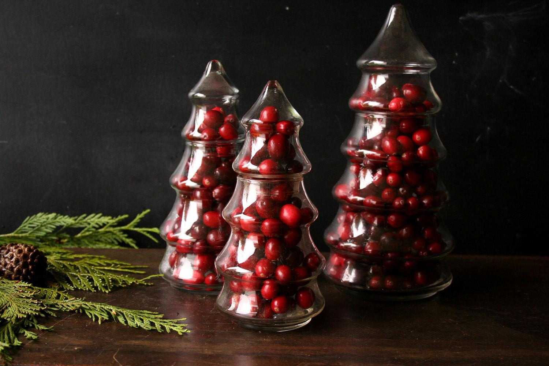 Glass Christmas Tree Candy Jar  Three Glass Pine Tree Candy Jar Christmas Centerpiece From