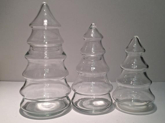 Glass Christmas Tree Candy Jar  Set of 3 Clear Glass Vintage Christmas Tree by