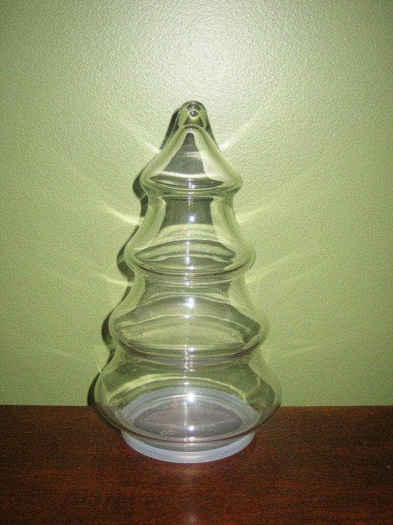 Glass Christmas Tree Candy Jar  Vintage Christmas Tree Candy Jar by vintagewares on Etsy