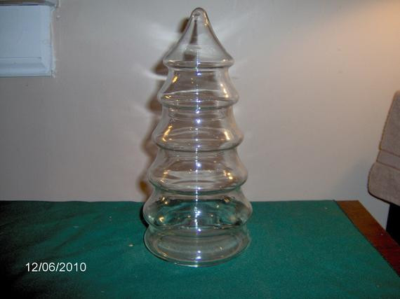 Glass Christmas Tree Candy Jar  Glass Christmas Tree Candy Jar by thefunnybunny on Etsy