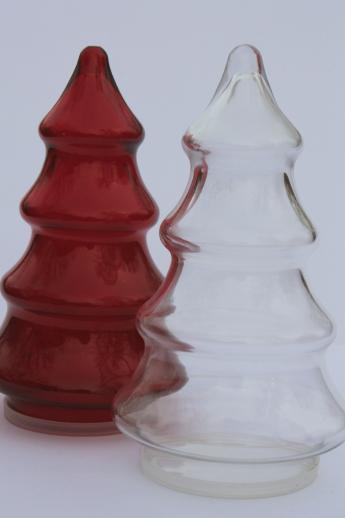 Glass Christmas Tree Candy Jar  vintage glass candy jars Christmas tree shape red & clear