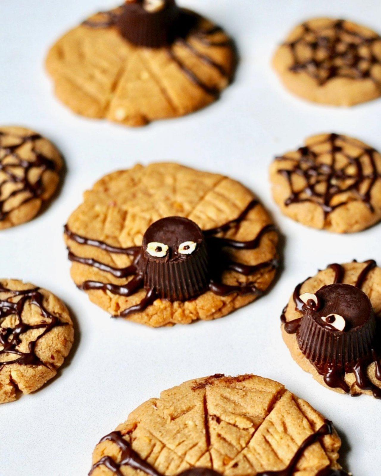 Gluten Free Halloween Cookies  Peanut Butter Spider Cookies for Halloween Vegan Gluten