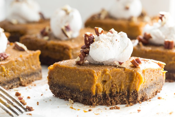 Gluten Free Thanksgiving Dessert  Vegan Pumpkin Pie Squares with Gluten Free Graham Cracker