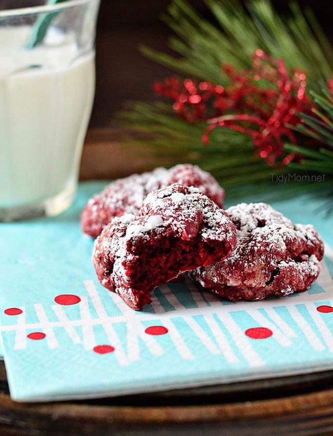 Gooey Butter Christmas Cookies  Red Velvet Cookies