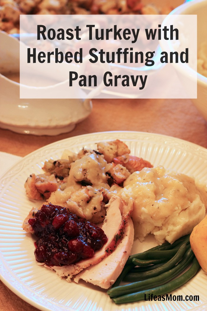 Gravy Thanksgiving Side Dishes  Roast Turkey with Herbed Stuffing and Pan Gravy Recipe