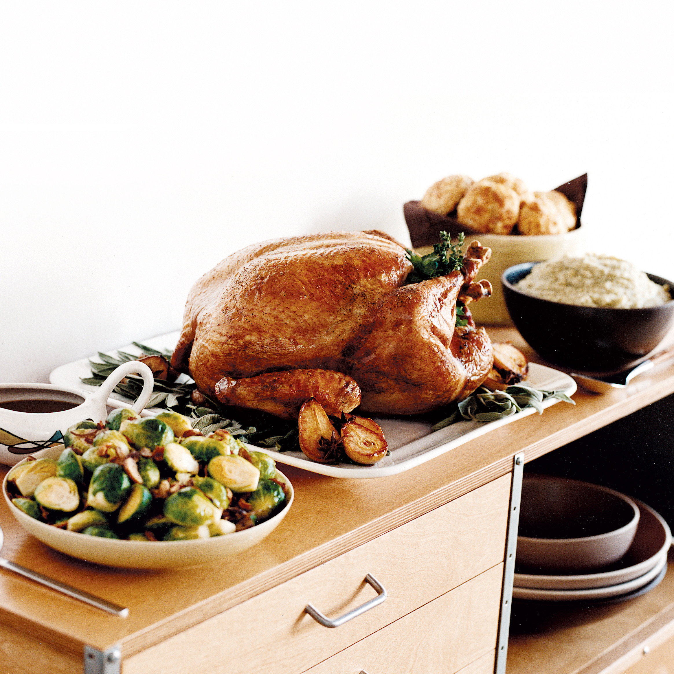 Gravy Thanksgiving Side Dishes  Herb Roasted Turkey with Maple Gravy Recipe Lee Hefter