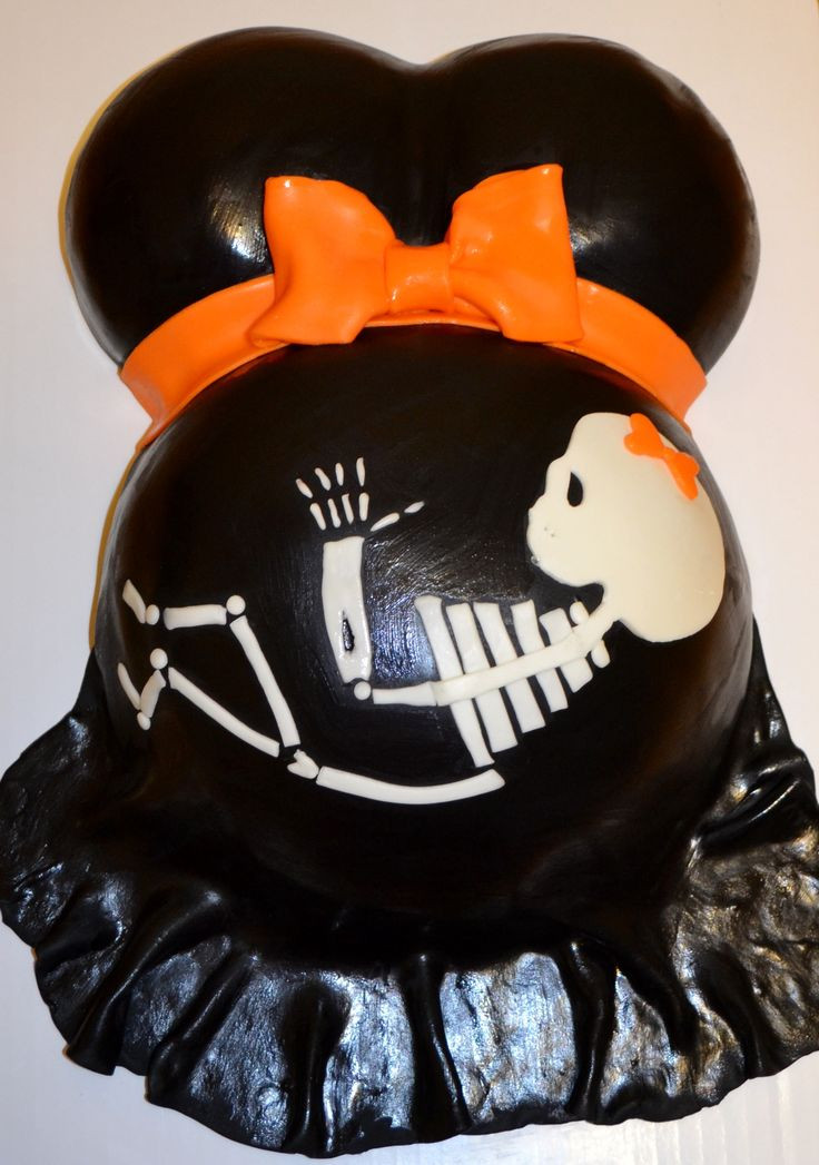 Halloween Baby Shower Cakes  Baby skeleton pregnant belly Halloween baby shower cake