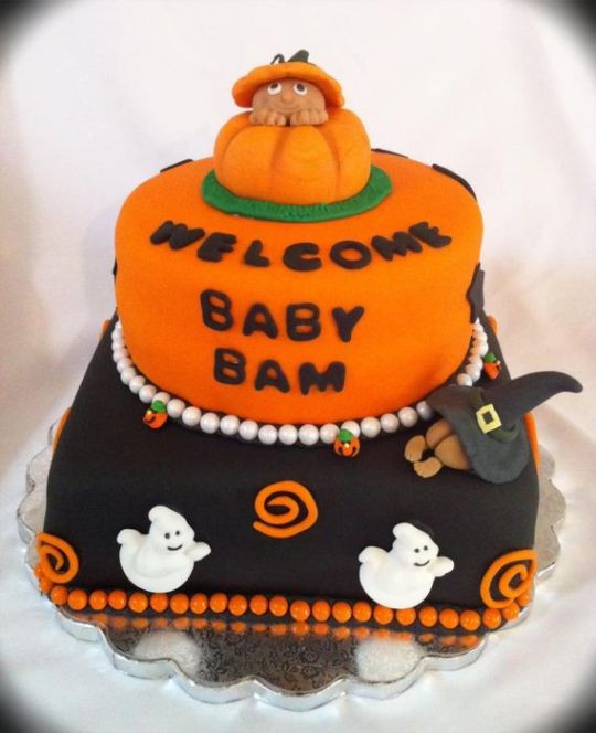 Halloween Baby Shower Cakes  halloween baby shower cake Cake by Megan Cazarez
