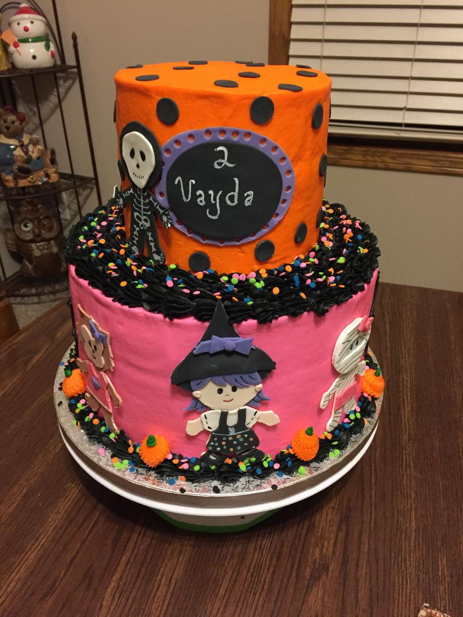Halloween Birthday Cakes  2 Tier Halloween Birthday Cake CakeCentral