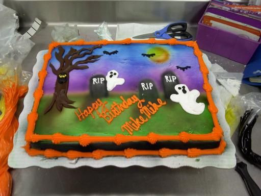 Halloween Birthday Sheet Cakes  An airbrushed and hand piped Halloween scene on a half