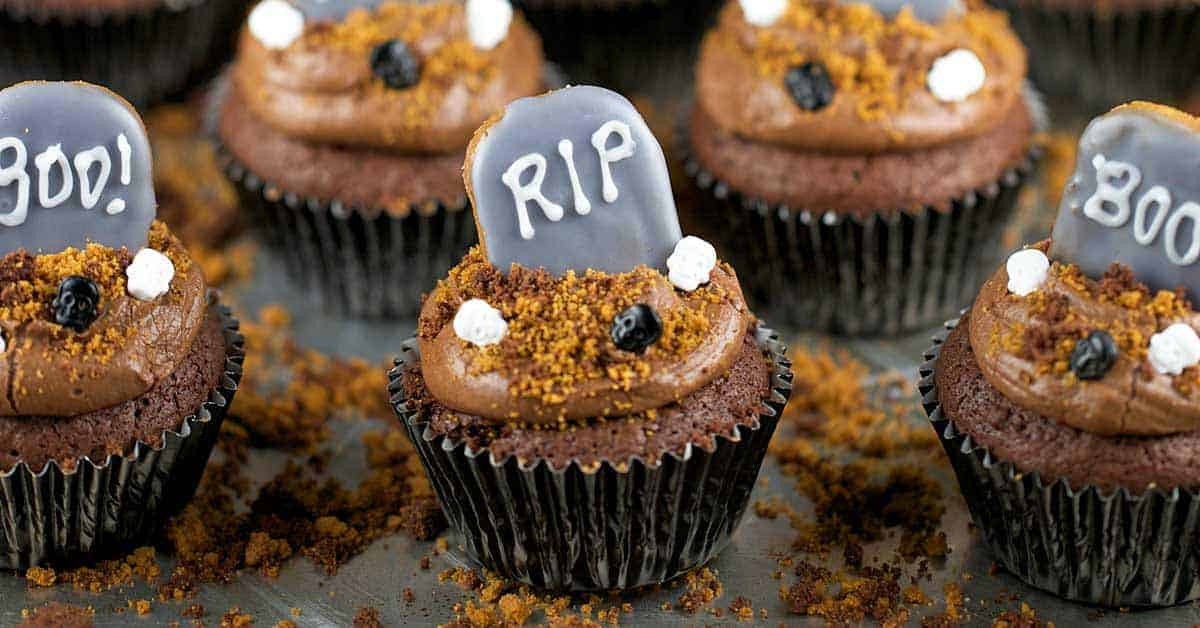 Halloween Brownie Cupcakes  Halloween Graveyard Brownie Cupcakes