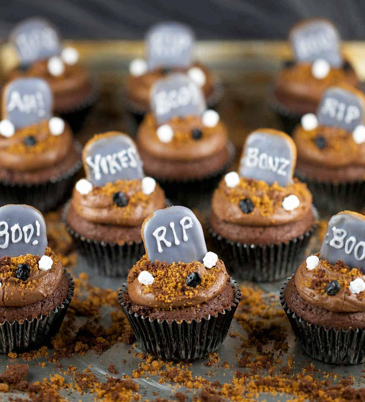 Halloween Brownie Cupcakes  Halloween Graveyard Brownie Cupcakes