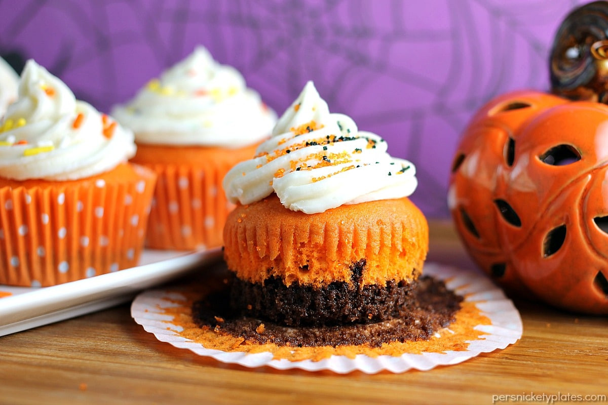 Halloween Brownie Cupcakes  Brownie Bottom Halloween Cupcakes Persnickety Plates