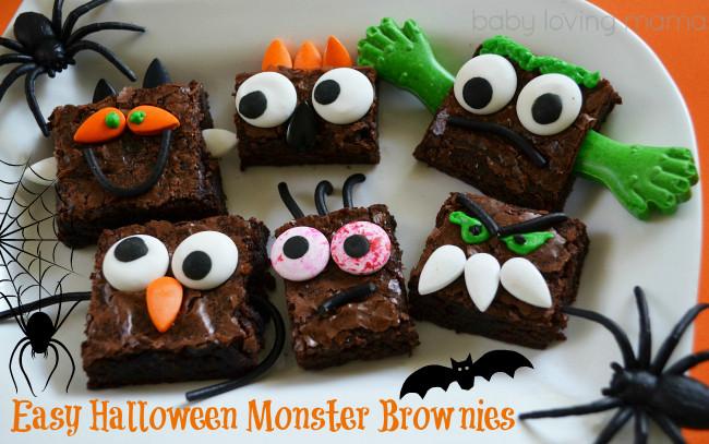 Halloween Brownies Decorating  Halloween Monster Brownies Make it Simple Finding Zest