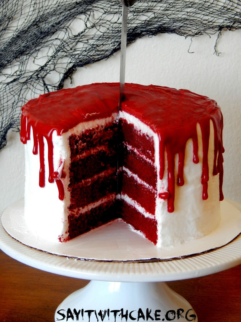Halloween Cakes Recipes  Bloody Halloween Cake – Say it With Cake
