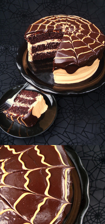 Halloween Cakes Recipes  Spooky Chocolate Orange Spider Cake with Cream Cheese