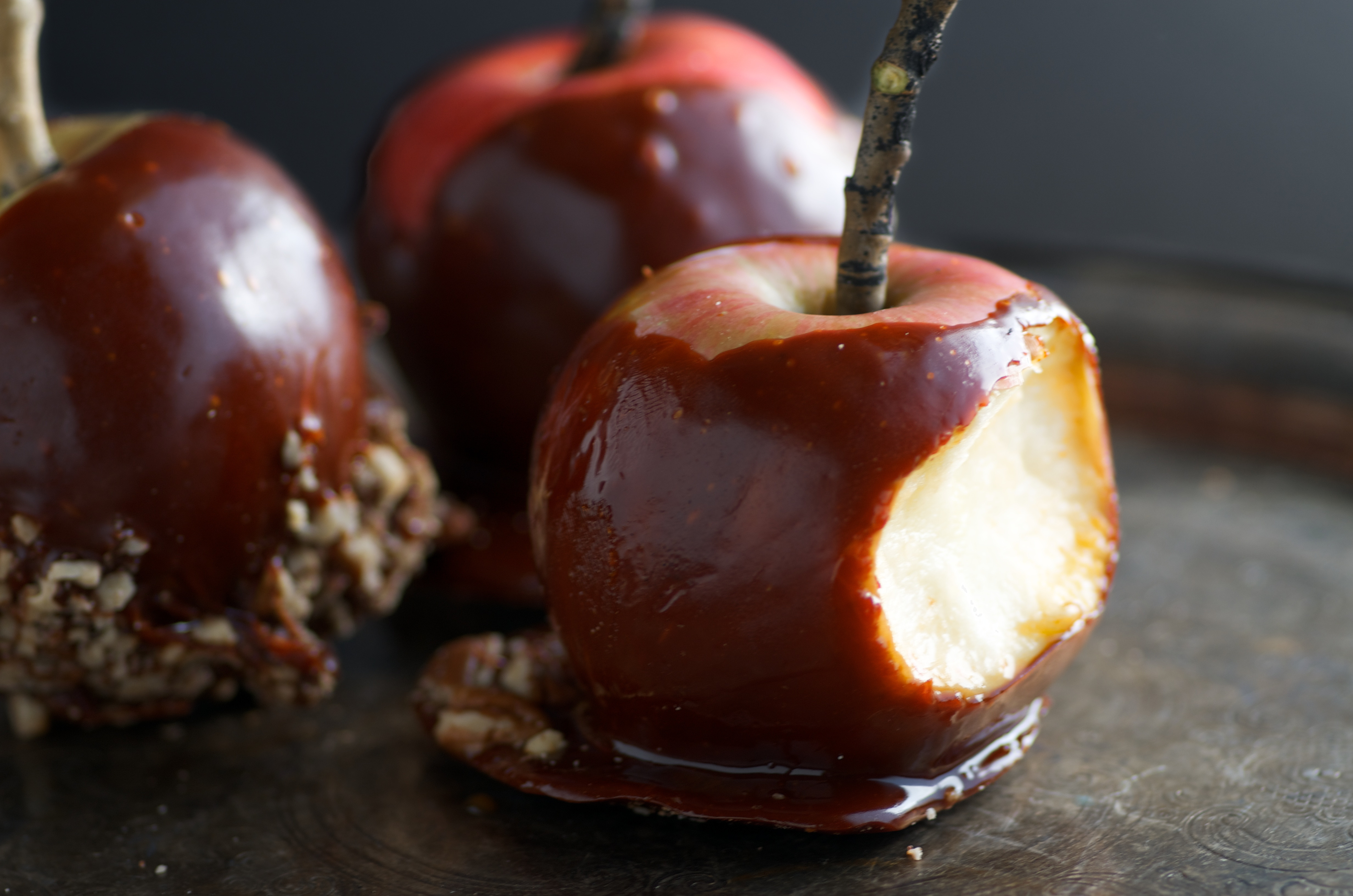 Halloween Caramel Apples  Spooky Honey Caramel Apples for Halloween Nourished Kitchen