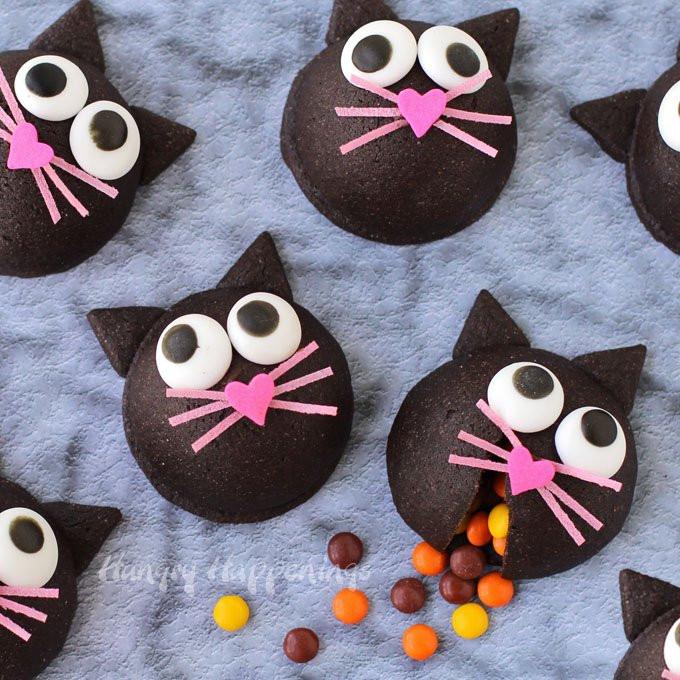 Halloween Cat Cookies  Halloween Treat Candy Filled Black Cat Cookies