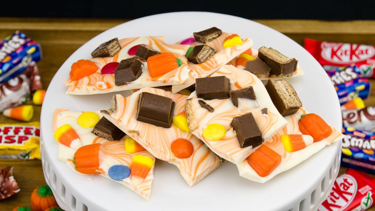 Halloween Cookies And Cupcakes  Halloween Candy Bark Chocolate Bark Recipe from Cookies