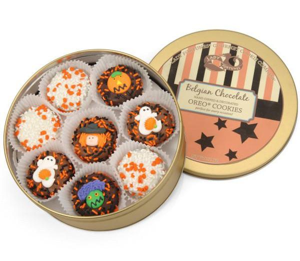 Halloween Cookies Delivered  Belgian Chocolate Halloween Oreo Tin of 16